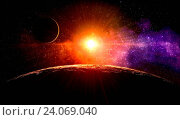 Купить «Dawn on the moon with no atmosphere on the orbit around gas giant extrasolar planet orbiting a Sun-like star», фото № 24069040, снято 18 января 2019 г. (c) easy Fotostock / Фотобанк Лори