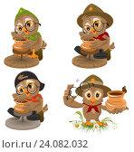 Купить «Сова скаут. Набор из 4-х птиц», иллюстрация № 24082032 (c) Алексей Григорьев / Фотобанк Лори