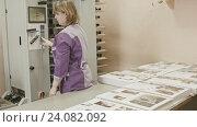 Купить «Женщина, работающая на компьютере в типографии», видеоролик № 24082092, снято 22 марта 2019 г. (c) Константин Шишкин / Фотобанк Лори