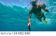 Купить «Сноркелинг (плавание с маской, трубкой и ластами) в Голубой Лагуне. Видео-селфи. Кипр.», эксклюзивный видеоролик № 24082840, снято 21 августа 2018 г. (c) Виктор Тараканов / Фотобанк Лори