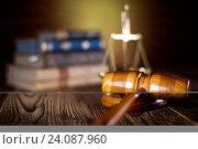 Купить «Mallet of judge, legal code and scales», фото № 24087960, снято 14 октября 2013 г. (c) easy Fotostock / Фотобанк Лори