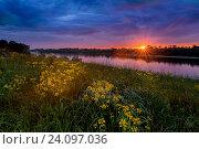 Купить «Летний закат, пейзаж с рекой и желтые цветы», фото № 24097036, снято 4 июня 2016 г. (c) Liseykina / Фотобанк Лори