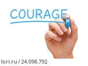 Купить «Надпись Courage голубым маркером», фото № 24098792, снято 24 июля 2019 г. (c) Ивелин Радков / Фотобанк Лори