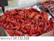 boiled red crayfish at street market. Стоковое фото, фотограф Syda Productions / Фотобанк Лори