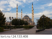 Грозный. Центральная мечеть Сердце Чечни имени Ахмата Кадырова (2016 год). Стоковое фото, фотограф Литвяк Игорь / Фотобанк Лори