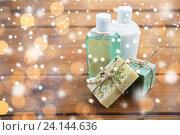 Купить «handmade soap bars and lotions on wood», фото № 24144636, снято 21 декабря 2015 г. (c) Syda Productions / Фотобанк Лори