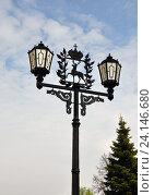 Купить «Фонарь с гербом Нижнего Новгорода», фото № 24146680, снято 12 мая 2013 г. (c) Голованов Сергей / Фотобанк Лори