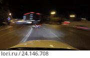 Time lapse ночью в Астрахани на дороге (2016 год). Редакционное видео, видеограф Андрей Воробьев / Фотобанк Лори