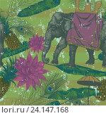 Бесшовный узор с индийским слоном, листьями и цветами. Стоковая иллюстрация, иллюстратор Irene Shumay / Фотобанк Лори