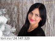 Красивая брюнетка наряжает новогоднюю елку. Стоковое фото, фотограф Евгений Андреев / Фотобанк Лори