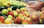 Купить «woman putting apple to bag at grocery store», видеоролик № 24165112, снято 3 ноября 2016 г. (c) Syda Productions / Фотобанк Лори