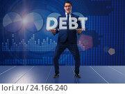 Купить «Businessman in debt business concept», фото № 24166240, снято 20 сентября 2019 г. (c) Elnur / Фотобанк Лори