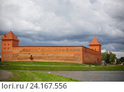 Купить «View of the Gedimina Castle from the lake. Lida. Belarus. Gediminas Castle», фото № 24167556, снято 20 июля 2016 г. (c) Майя Крученкова / Фотобанк Лори
