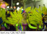 Купить «Procession of Spanish Carnaval at Sitges in evening time. Catalonia», фото № 24167608, снято 10 февраля 2016 г. (c) Яков Филимонов / Фотобанк Лори