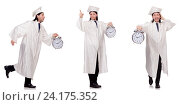 Купить «Young man student with clock isolated on white», фото № 24175352, снято 3 декабря 2013 г. (c) Elnur / Фотобанк Лори