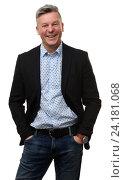 Купить «Мужчина среднего возраста в чёрном пиджаке, белый фон», фото № 24181068, снято 3 ноября 2016 г. (c) Александр Лычагин / Фотобанк Лори