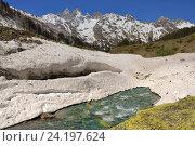 Купить «Лавина в горах Кавказа весной», фото № 24197624, снято 2 мая 2016 г. (c) александр жарников / Фотобанк Лори