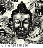 Голова Будды. Стоковая иллюстрация, иллюстратор Irene Shumay / Фотобанк Лори