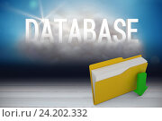 Composite image of digital image of yellow folder with downloading arrow symbol. Стоковое фото, агентство Wavebreak Media / Фотобанк Лори