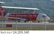 Купить «Airplane was taxiing on the runway before take-off», видеоролик № 24209340, снято 26 ноября 2015 г. (c) Игорь Жоров / Фотобанк Лори