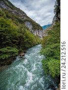 Купить «Река Бзыбь в Абхазии», фото № 24212516, снято 25 сентября 2016 г. (c) Матвей Солодовников / Фотобанк Лори