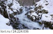 Купить «Река в снежном лесу, Черногория», видеоролик № 24224036, снято 21 января 2016 г. (c) Иван Кузнецов / Фотобанк Лори