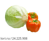 Купить «Кочан капусты и два болгарских перца», фото № 24225908, снято 23 сентября 2016 г. (c) LightLada / Фотобанк Лори