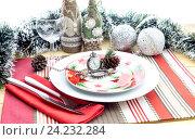 Купить «Новогодняя и Рождественская сервировка стола», фото № 24232284, снято 17 ноября 2016 г. (c) Татьяна Ляпи / Фотобанк Лори