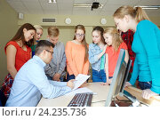 Купить «group of students and teacher with tests at school», фото № 24235736, снято 22 апреля 2016 г. (c) Syda Productions / Фотобанк Лори