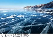 Купить «Озеро Байкал в начале марта. Вид со льда на мыс Хобой», фото № 24237900, снято 6 марта 2011 г. (c) Виктория Катьянова / Фотобанк Лори
