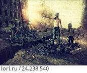 Купить «Мальчики в противогазах на руинах города», фото № 24238540, снято 15 сентября 2019 г. (c) Виктор Застольский / Фотобанк Лори