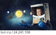 He want to become astronaut . Mixed media. Стоковое фото, фотограф Sergey Nivens / Фотобанк Лори