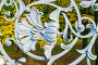 Михайловский сад - декор металлической фигурной ограды в виде цветов и листьев крупным планом на фоне осеннего парка, Санкт-Петербург, Россия, фото № 24246912, снято 3 октября 2016 г. (c) Зезелина Марина / Фотобанк Лори