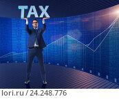 Купить «Man under the burden of tax payments», фото № 24248776, снято 13 декабря 2019 г. (c) Elnur / Фотобанк Лори