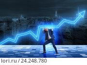 Купить «Businessman supporting increase in economy», фото № 24248780, снято 20 января 2020 г. (c) Elnur / Фотобанк Лори