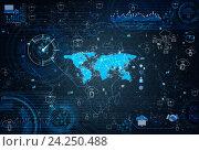 Купить «Social networks concept with world map», фото № 24250488, снято 19 августа 2019 г. (c) Elnur / Фотобанк Лори