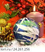 Купить «Новогодняя композиция», фото № 24261256, снято 13 ноября 2013 г. (c) Виктор Топорков / Фотобанк Лори