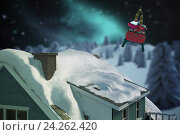 Купить «Composite image of illuminated turquoise house covered in snow», фото № 24262420, снято 16 декабря 2018 г. (c) Wavebreak Media / Фотобанк Лори