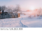 Купить «Зимний сельский пейзаж в закатном вечернем свете», фото № 24263300, снято 23 марта 2019 г. (c) Зезелина Марина / Фотобанк Лори