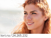 Купить «close up of happy young redhead woman face», фото № 24265232, снято 7 августа 2016 г. (c) Syda Productions / Фотобанк Лори