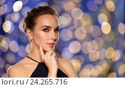 Купить «beautiful woman in black wearing diamond jewelry», фото № 24265716, снято 14 апреля 2016 г. (c) Syda Productions / Фотобанк Лори