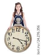 Купить «Девочка с часами, изолировано на белом фоне», фото № 24276356, снято 20 марта 2016 г. (c) Игорь Долгов / Фотобанк Лори