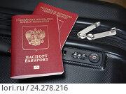 Купить «Чемодан и два заграничных паспорта», эксклюзивное фото № 24278216, снято 27 ноября 2016 г. (c) Юрий Морозов / Фотобанк Лори