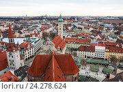 Мюнхен, вид сверху на старую ратушу и Heilig-Geist-kirche (2011 год). Стоковое фото, фотограф Юлия Бабкина / Фотобанк Лори