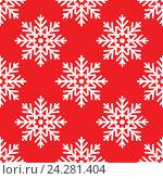 Купить «Белые снежинки на красном фоне, бесшовный фон», иллюстрация № 24281404 (c) Анастасия Улитко / Фотобанк Лори