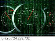 Купить «Код матрицы и панель приборов автомобиля», иллюстрация № 24288732 (c) Евгений Ткачёв / Фотобанк Лори