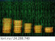 Купить «Code matrix and gold coins pile», иллюстрация № 24288740 (c) Евгений Ткачёв / Фотобанк Лори