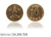 Купить «Монет 10 вон KRW. Южная Корея», фото № 24288768, снято 14 октября 2012 г. (c) Евгений Ткачёв / Фотобанк Лори