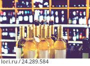 Купить «Closeup view on various alcohol beverage bottles», фото № 24289584, снято 27 февраля 2020 г. (c) Яков Филимонов / Фотобанк Лори