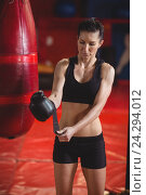 Купить «Female boxer wearing boxing gloves», фото № 24294012, снято 8 сентября 2016 г. (c) Wavebreak Media / Фотобанк Лори